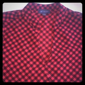 Red and black patterned long sleeve blouse